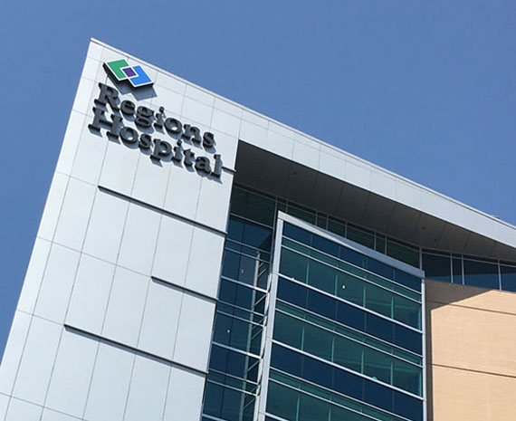 Regions Hospital building with logo