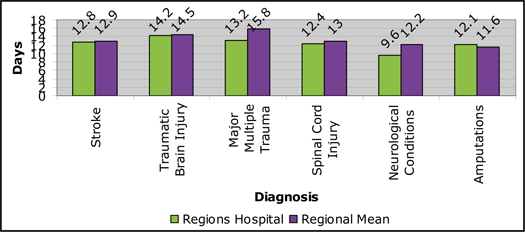 Regions Hospital - Rehabilitation Institute - Graph: 2010 Length of Stay by Diagnosis