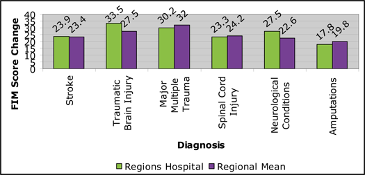 Regions Hospital - Rehabilitation Institute -  Graph: 2010 FIM Improvement